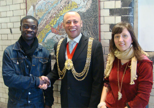 Mayor of Lambeth with Volunteers who helped create the mosaics