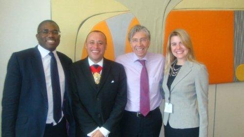 Mayor of Lambeth, Keith Hill MP, David Lammy MP and representative from Lambeth Community Fund