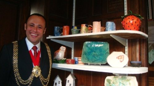 Mayor of Lambeth with some of the work of Clapham Potters