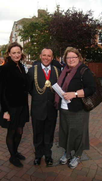 Mayor with Cllr Rachael Heywood and TV Chef Rosemary Sharger
