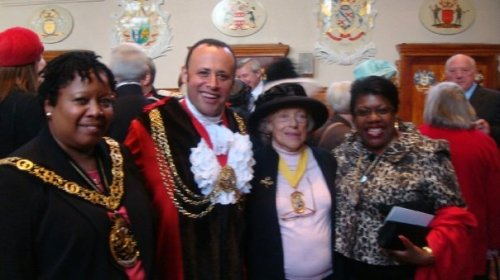 Mayors and former Mayors following the civic service