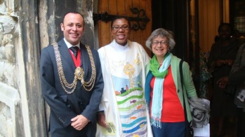 Mayor of Lambeth and consort Anne Sassoon with Rev Rosemarie Mallett